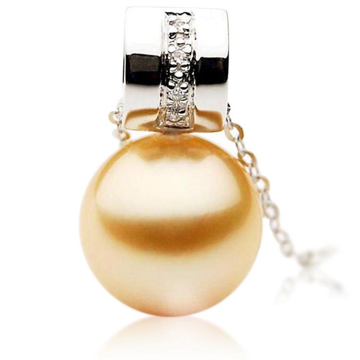 GP039 (AAA 12mm Australian Golden South Sea Pearl Pendant and Diamonds)