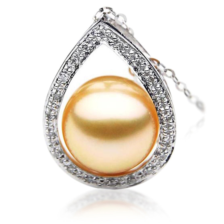 GP041 (AAA 12mm Australian Golden South Sea Pearl Pendant and Diamonds Gold)