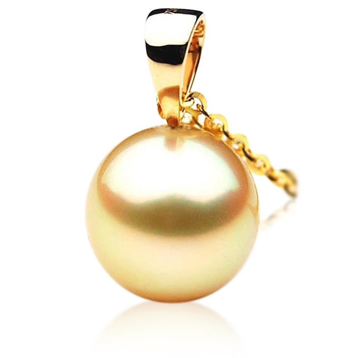 GP044 (AAA 13mm Australian Golden South Sea Pearl Pendant In 18K Gold)