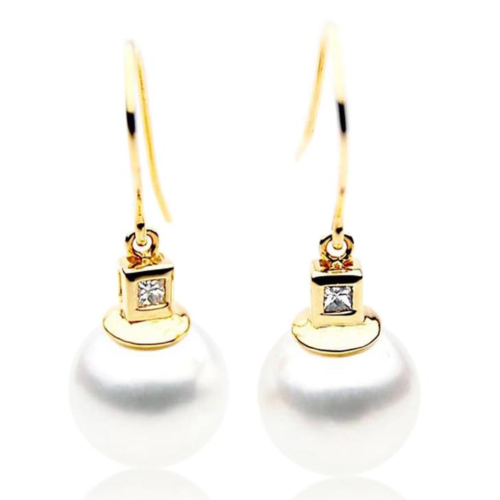 SE030  (AAA 11mm Australian South Sea Pearl Earrings Diamonds in 18k Gold)