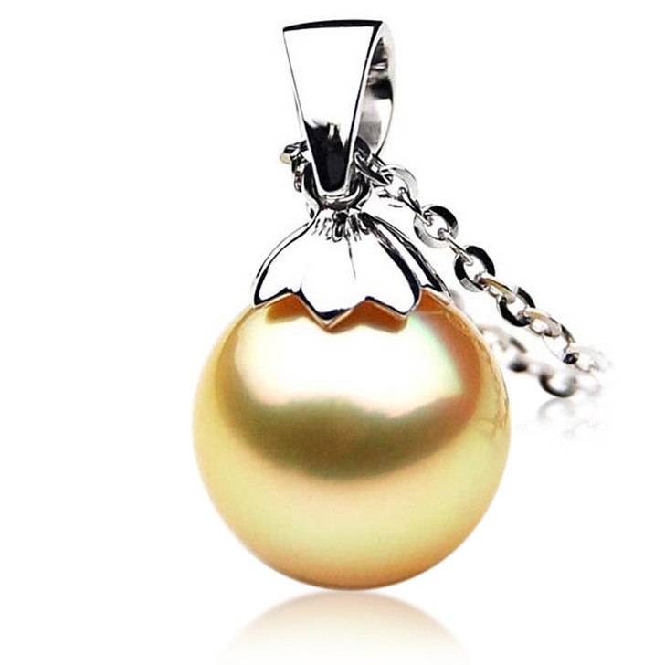 GP051 (AAA 13mm Australian Golden South Sea Pearl Pendant In White Gold)