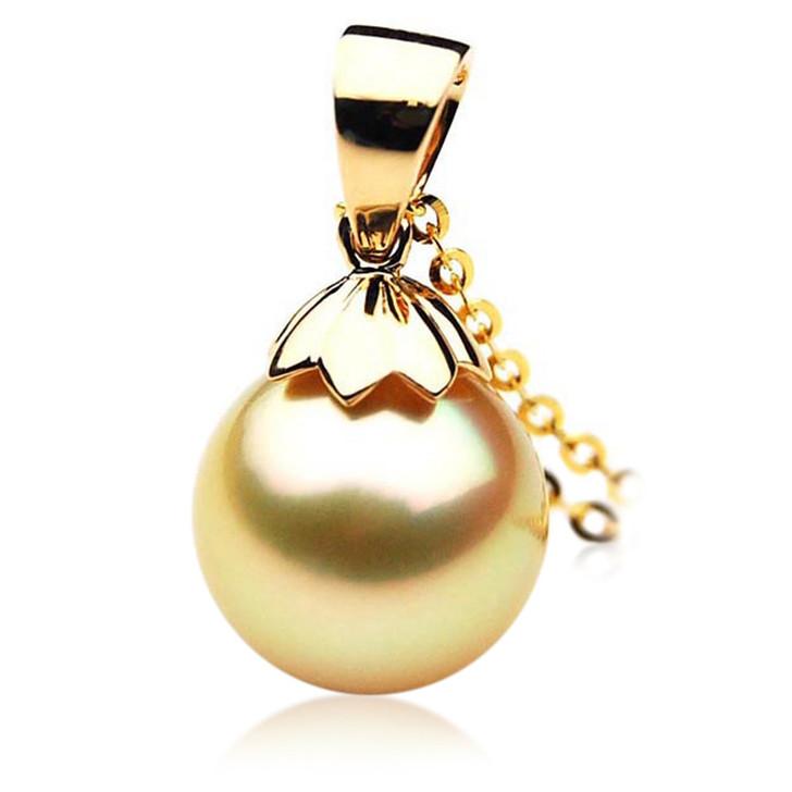 GP052 (AAA 13mm Australian Golden South Sea Pearl Pendant In 18K Gold)