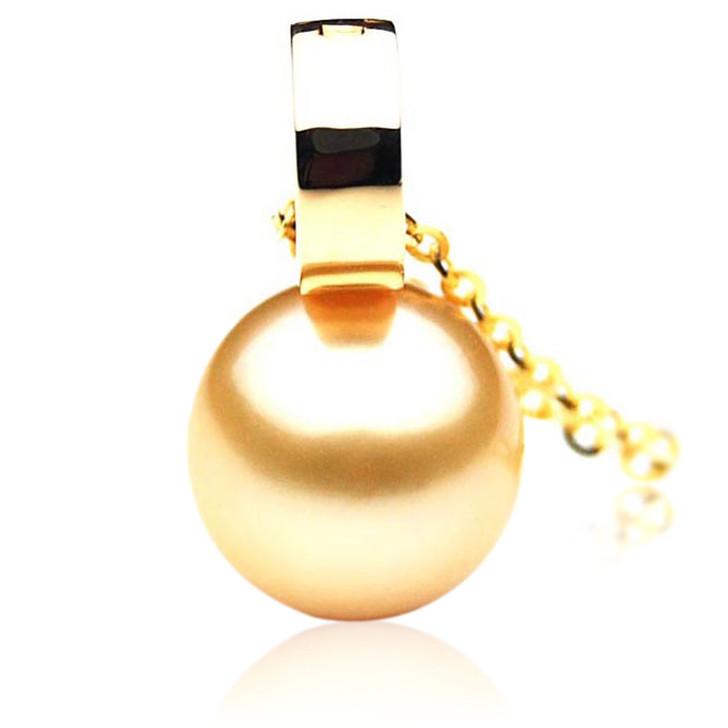 GP054 (AAA 13mm Australian Golden South Sea Pearl Pendant In 18K Gold)