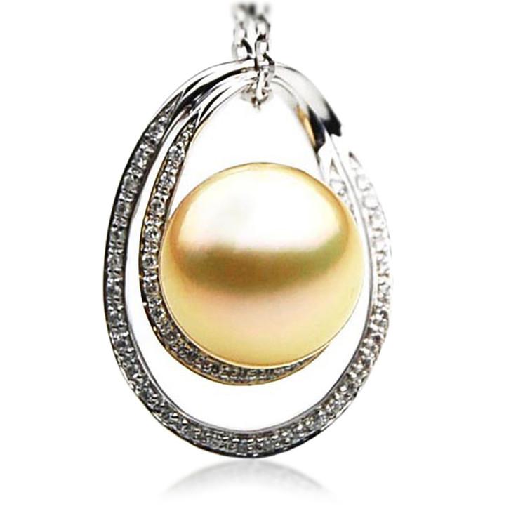 GP069 (AAA 13mm Australian Golden South Sea Pearl Pendant and Diamonds)