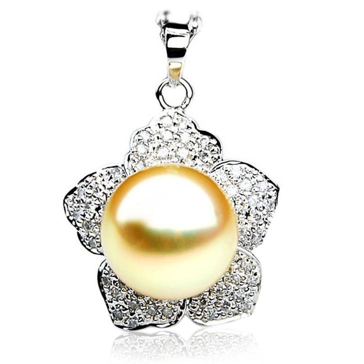 GP079 (AAA 13mm Australian Golden South Sea Pearl Pendant and Diamonds )
