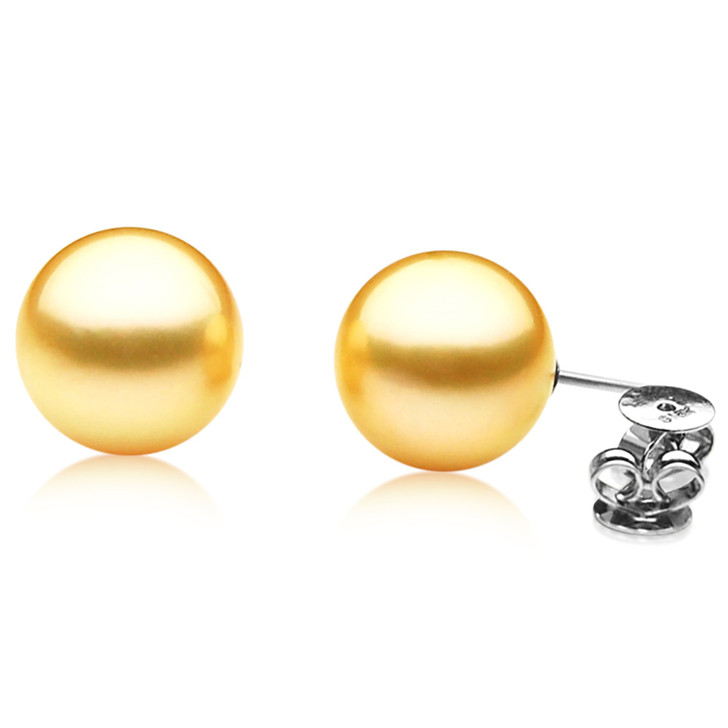 GE001 (AAA 11mm Australian Golden South Sea Pearl Earrings White Gold)