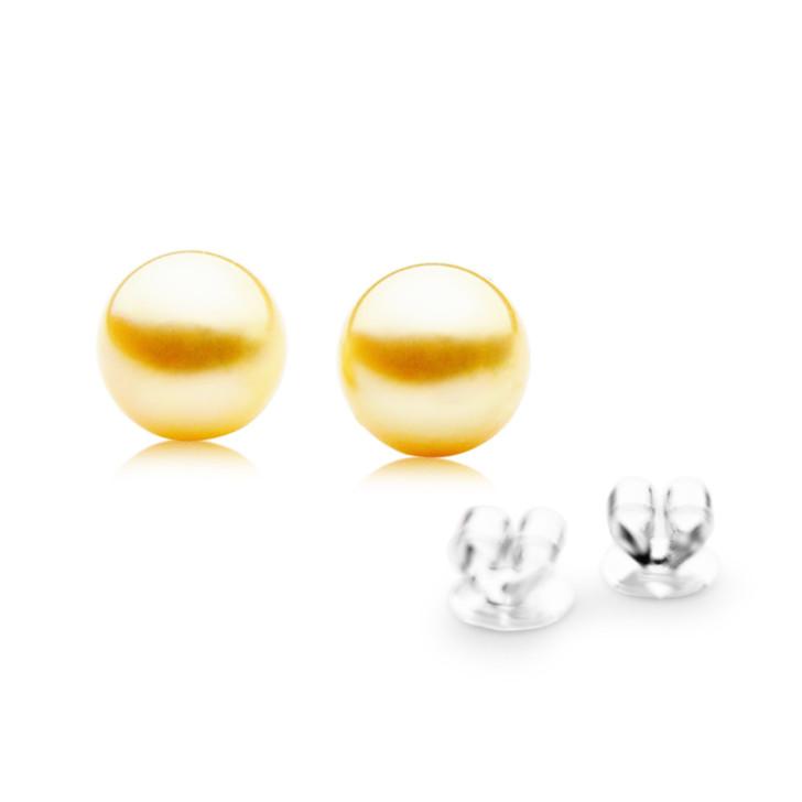 GES01 (AAA 9mm Australian Golden South Sea Pearl Earrings White Gold)