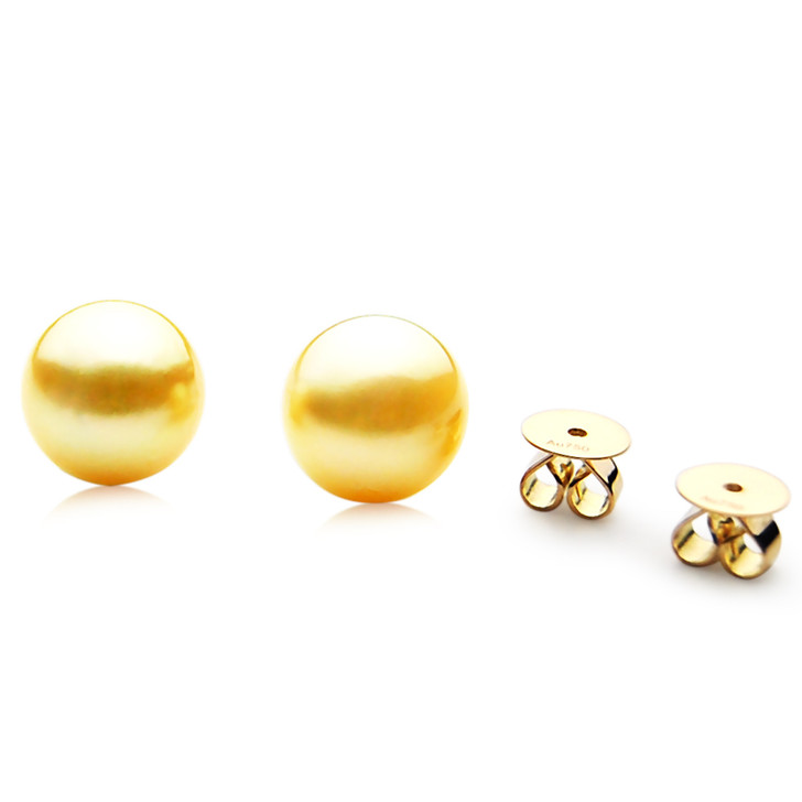 GES02 (AAA 9mm Australian Golden South Sea Pearl Earrings Yellow Gold)