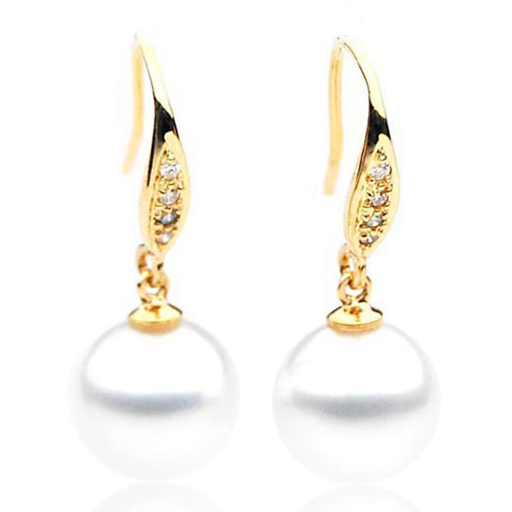 SE034  (AAA 11mm Australian South Sea Pearl Earrings Diamonds 18k Gold)
