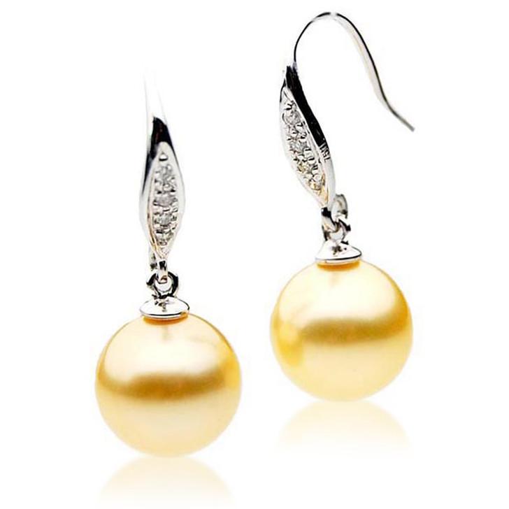 GE033 (AAA 11mm Australian Golden South Sea Pearl Earrings Diamond)