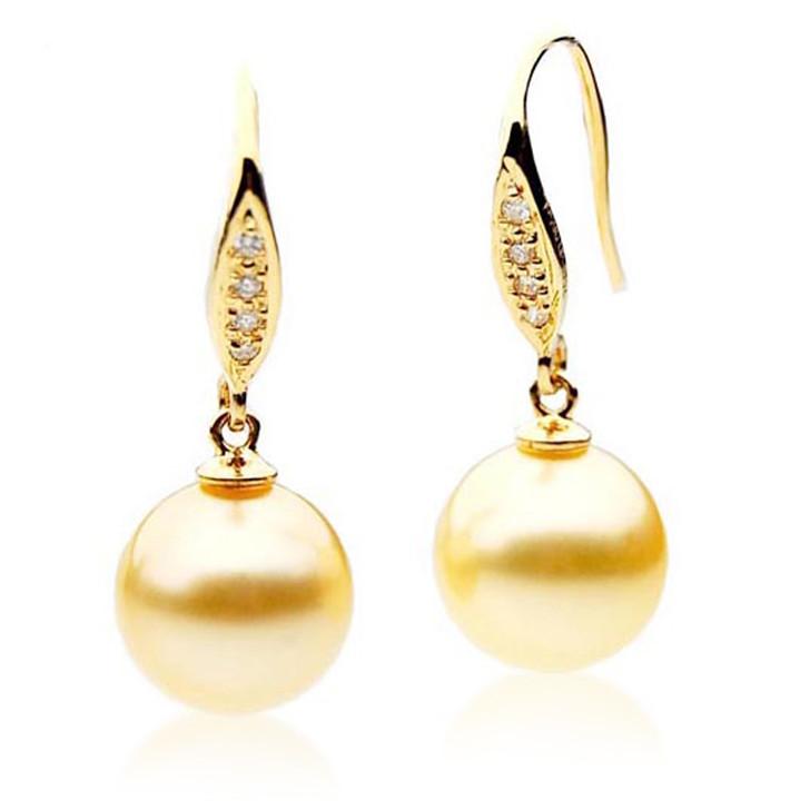 GE034 (AAA 11mm Australian Golden South Sea Pearl Earrings and Diamonds )