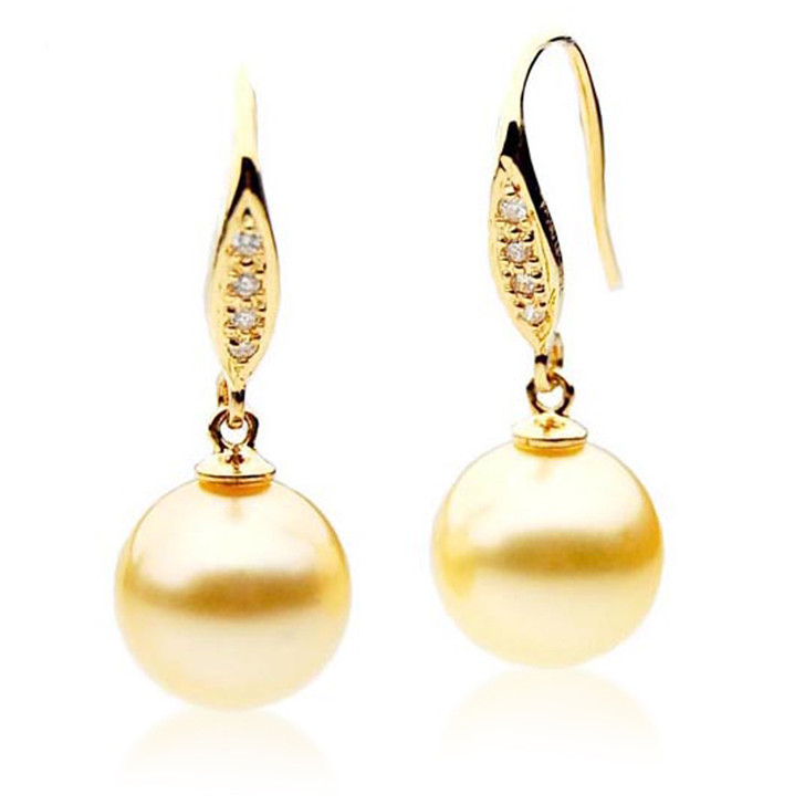 GE034 (AAA 11mm Australian Golden South Sea Pearl Earrings and Diamonds )