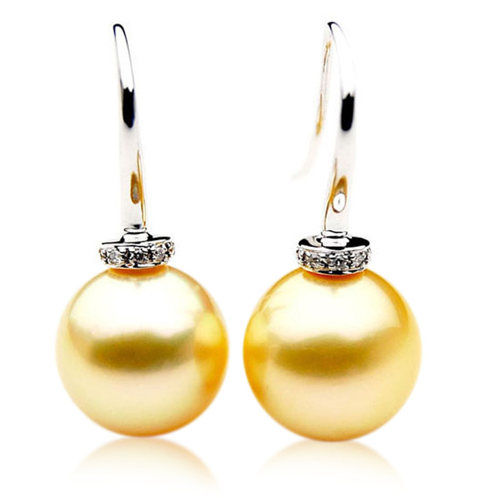GE034a (AAA 11mm Australian Golden South Sea Pearl and Earrings Diamond)