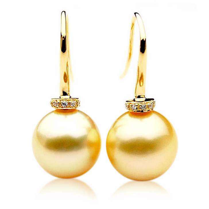 GE034b (AAA 11mm Australian Golden South Sea Pearl Earrings and Diamonds)
