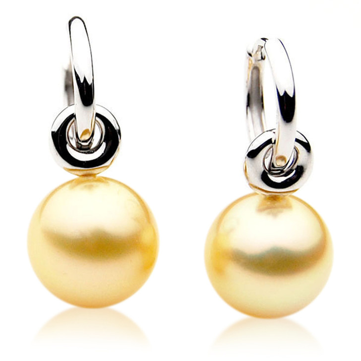 GE035 (AAA 11mm Australian Golden South Sea Pearl Earrings In Gold)