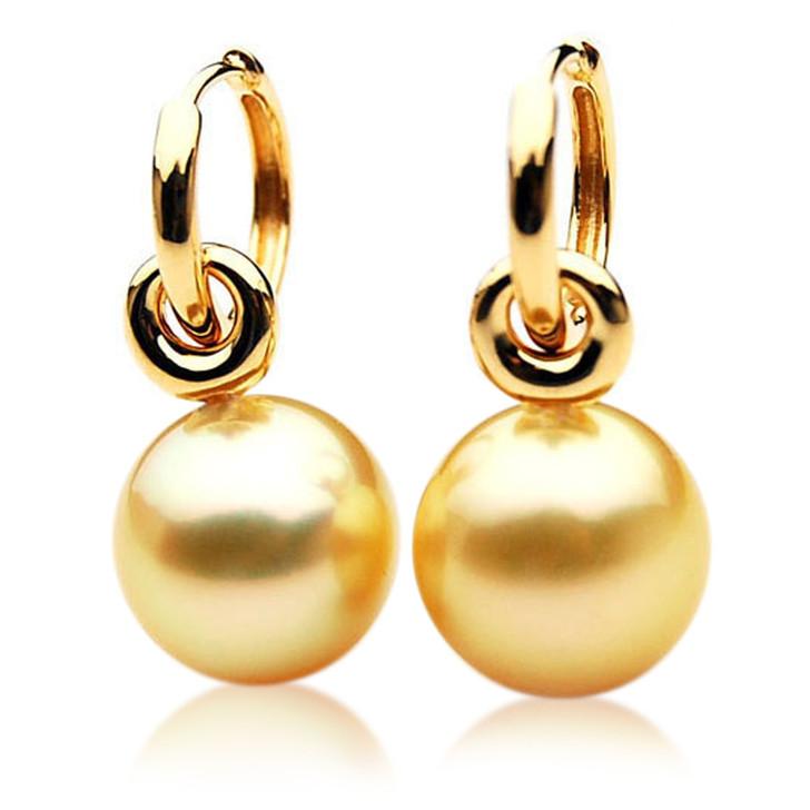 GE036 (AAA 11mm Australian Golden South Sea Pearl Earrings 18k Rose Gold )