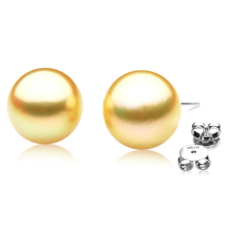 GE037 (AAA 12mm Australian Golden South Sea Pearl Earrings)