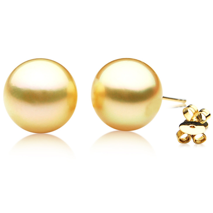 GE038 (AAA 12mm Australian Golden South Sea Pearl Earrings In Gold)