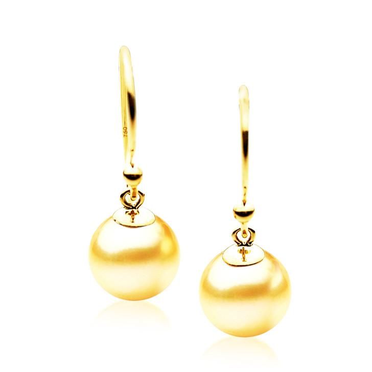 GES04 (AAA 9mm Australian Golden South Sea Pearl Earrings Yellow Gold)