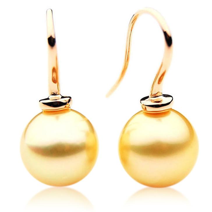 GE042 (AAA 12mm Australian Golden South Sea Pearl In 18K  Gold)