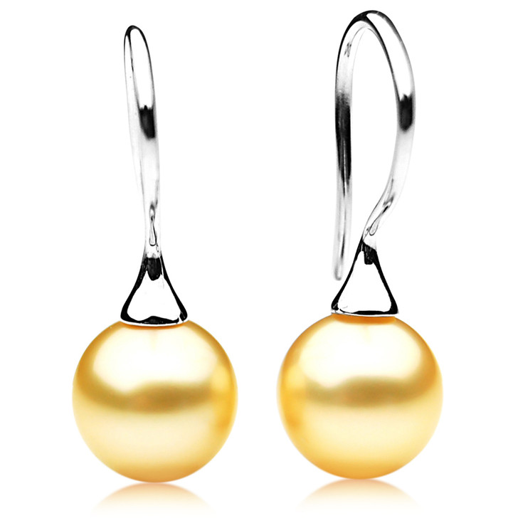 GE043 (AAA 12mm Australian Golden South Sea Pearl In 18K White Gold)
