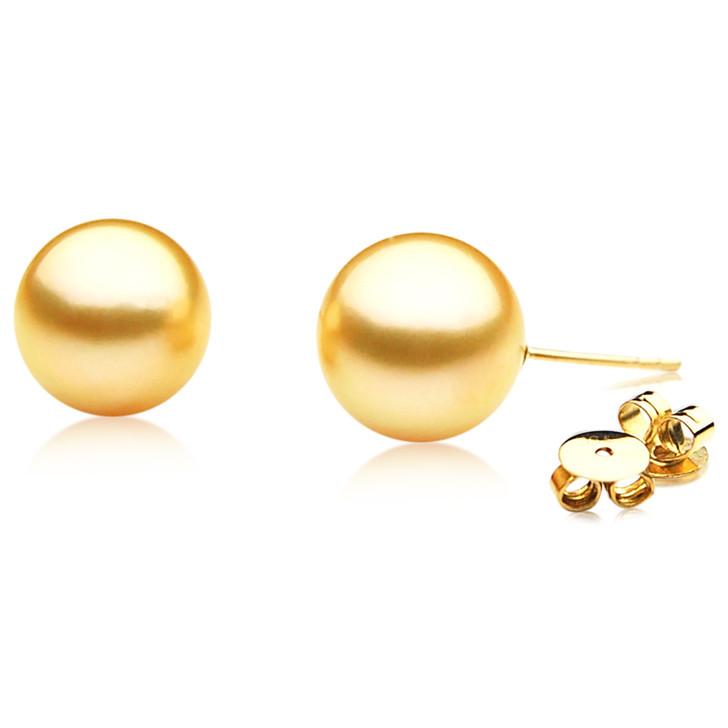 GE002 (AAA 11mm Australian Golden South Sea Pearl Earrings In Gold)