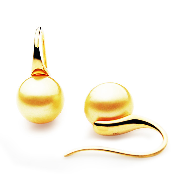 GES06 (AAA 9mm Australian Golden South Sea Pearl Earrings in Yellow Gold)