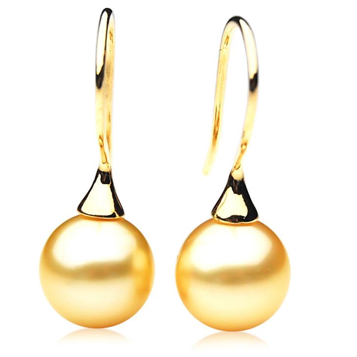 GE006 (AAA 11mm Australian Golden South Sea Pearl Earrings In Gold)