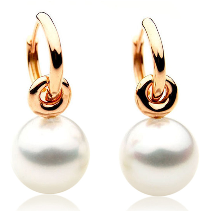 SE036  (AAA 11mm Australian South Sea Pearl Earrings in 18k Rose Gold)