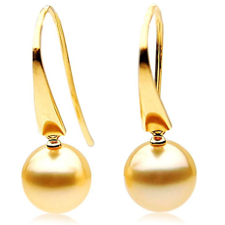 GE010 (AAA 11mm Australian Golden South Sea Pearl Earrings In 18K Gold)