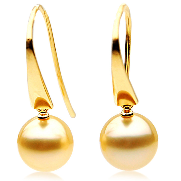 GE010 (AAA 11mm Australian Golden South Sea Pearl Earrings In 18K Gold)