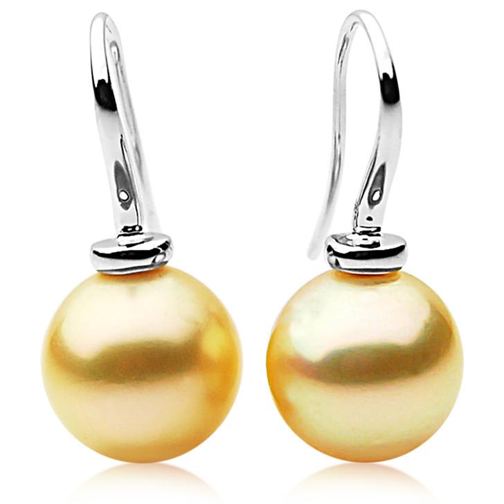 GE011 (AAA 11mm Australian Golden South Sea Pearl Earrings)