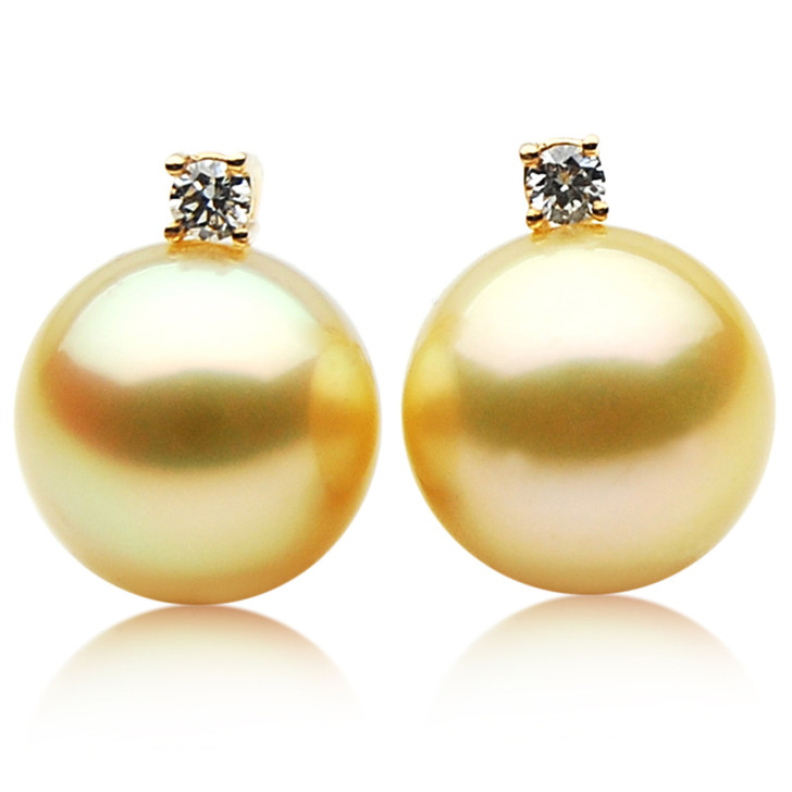 GE014 (AAA 11mm Australian Golden South Sea Pearl Earrings and Diamond )