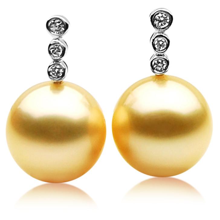 GE015 (AAA 11mm Australian Golden South Sea Pearl Earrings  Diamond )