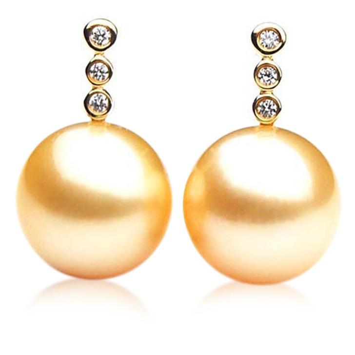 GE016 (AAA 11mm Australian Golden South Sea Pearl Earrings and Diamond)