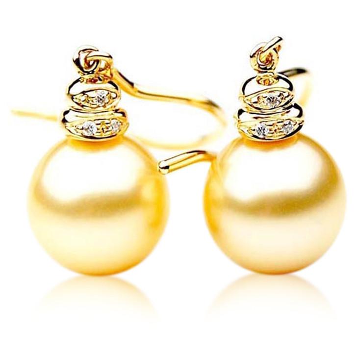 GE026 (AAA 11mm Australian Golden South Sea Pearl Earrings Diamond )