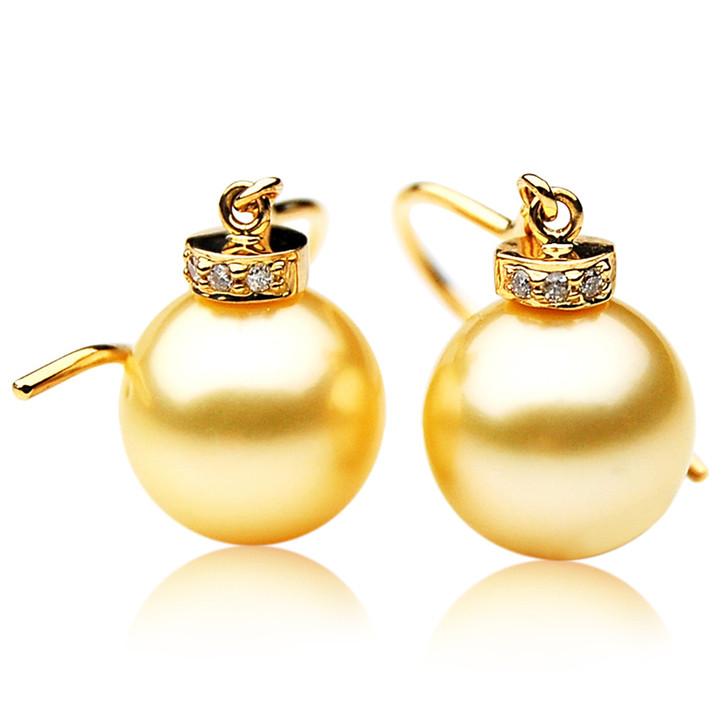 GE028 (AAA 11mm Australian Golden South Sea Pearl Earrings and Diamond )