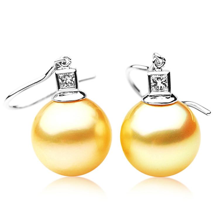 GE029 (AAA 11mm Australian Golden South Sea Pearl Earrings and Diamond)