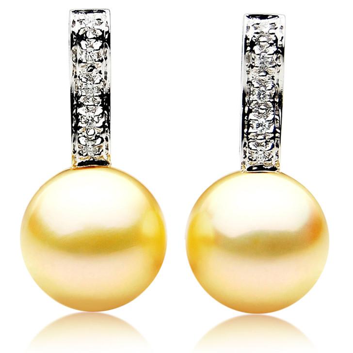 GE047 (AAA 12mm Australian Golden South Sea Pearl Earrings and Diamond)