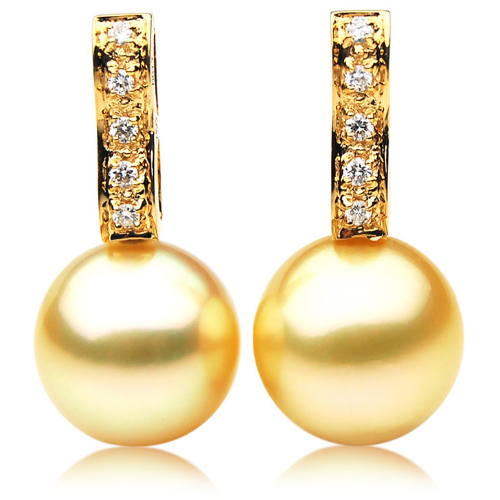 GE048 (AAA 12mm Australian Golden South Sea Pearl Earrings and Diamond)