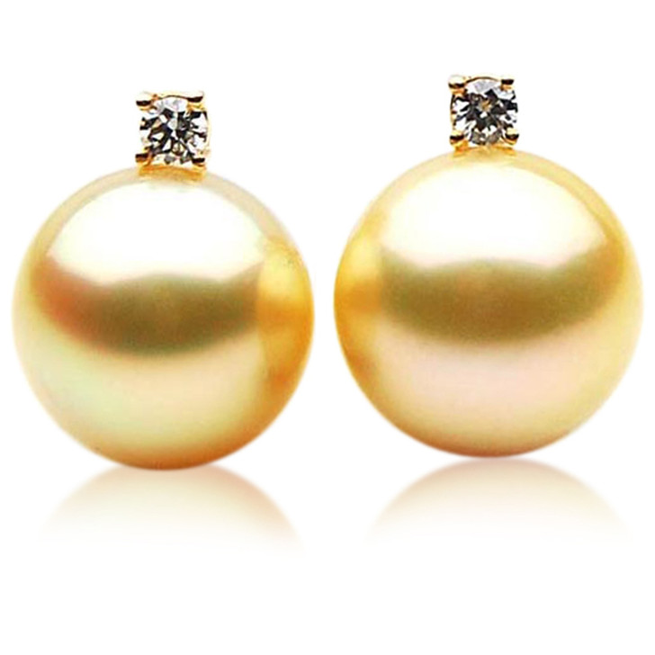 GE050 (AAA 12mm Australian Golden South Sea Pearl Earrings and Diamond )