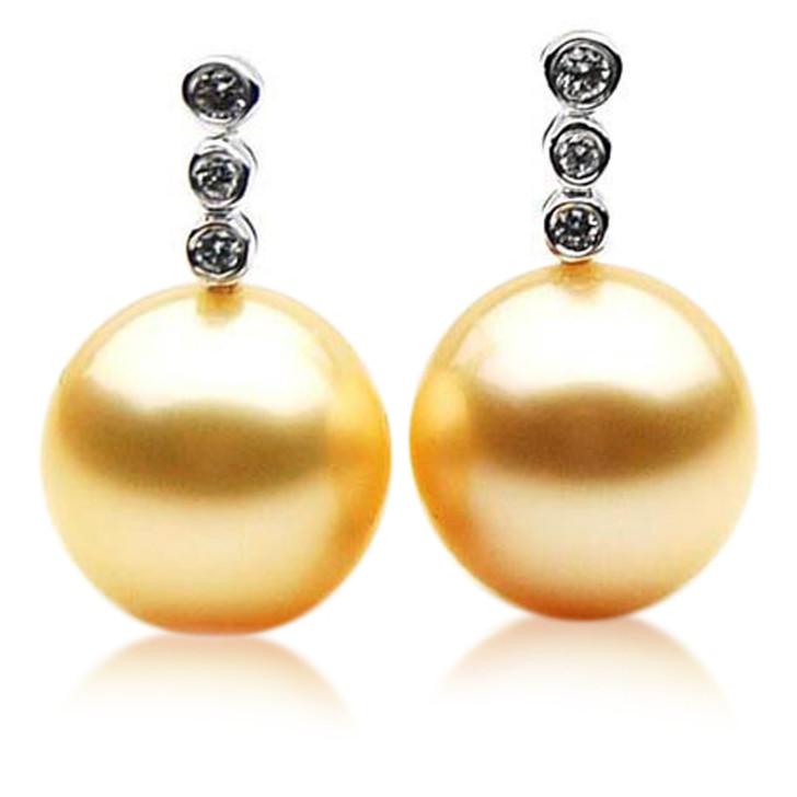 GE053 (AAA 12mm Australian Golden South Sea Pearl Earrings Diamond )