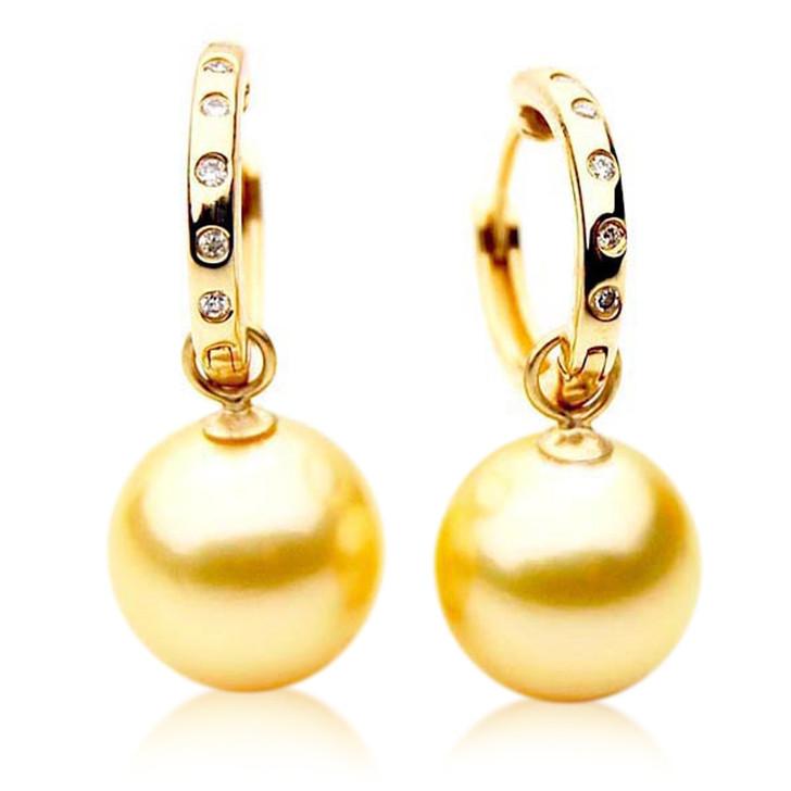 GE056 (AAA 12mm Australian Golden South Sea Pearl Earrings and Diamond)
