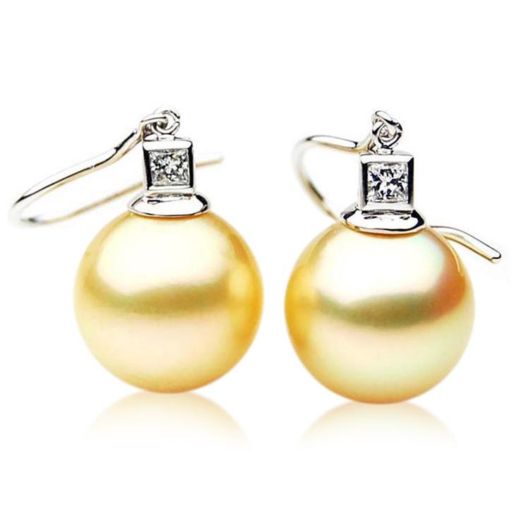 GE057 (AAA 12mm Australian Golden South Sea Pearl Earrings and Diamond )