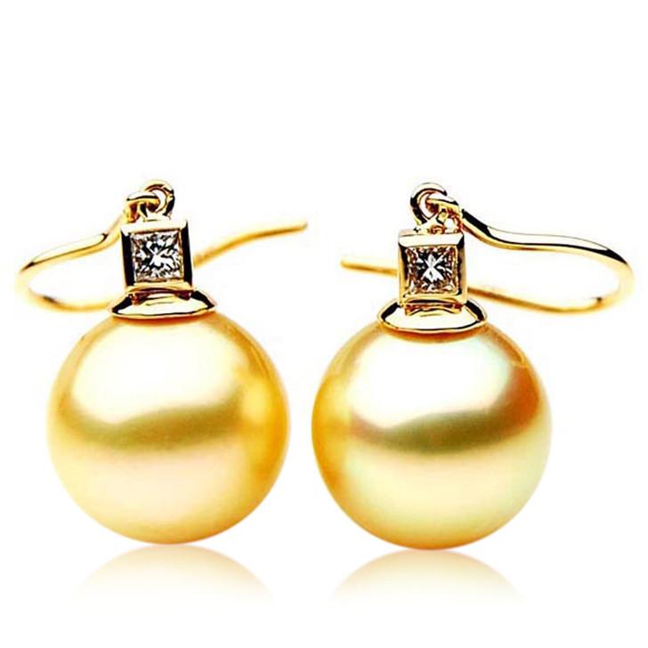 GE058 (AAA 12mm Australian Golden South Sea Pearl Earrings and Diamond )