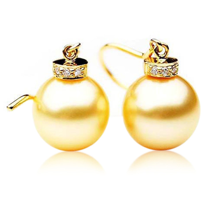GE064 (AAA 12mm Australian Golden South Sea Pearl Earrings and Diamond)