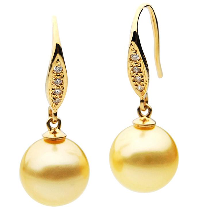 GE066 (AAA 12mm Australian Golden South Sea Pearl Earrings and Diamond )