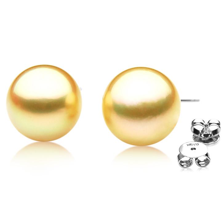 GE071 (AAA 13mm Australian Golden South Sea Pearl Earrings In Gold)