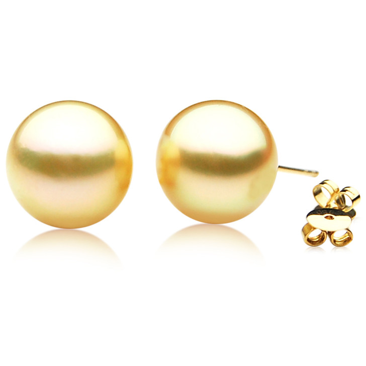 GE072 (AAA 13mm Australian Golden South Sea Pearl Earrings)