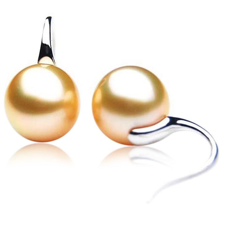 GE073 (AAA 13mm Australian Golden South Sea Pearl Earrings In Gold)